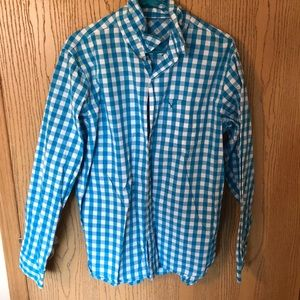 Men's American Eagle Blue and White Plaid Shirt